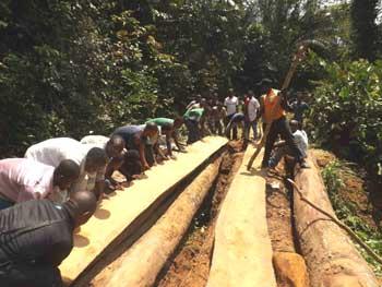 Construction d'un pont pour une route en brousse, RDC
