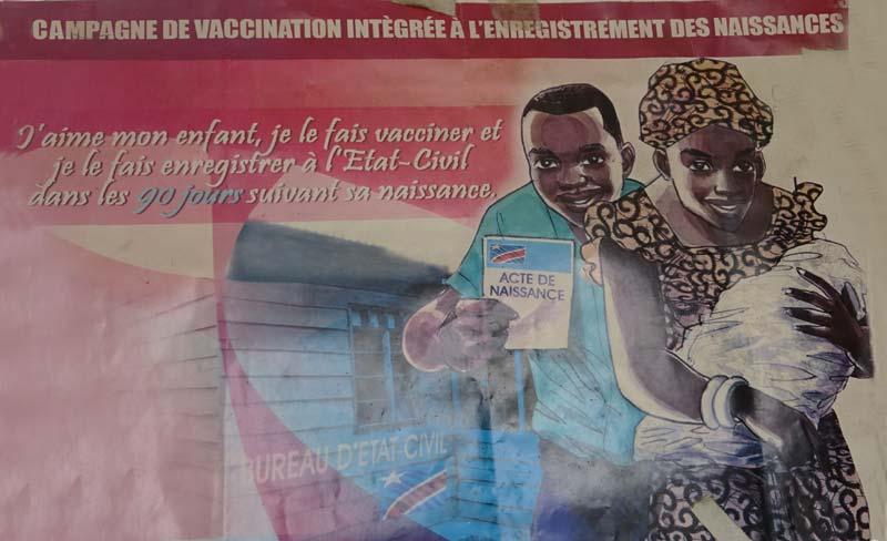 Affiche publicitaire pour la campagne d'enregistrement des naissances en RD du Congo