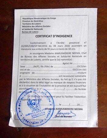 Certificat d'indigence d'acte d'état civil