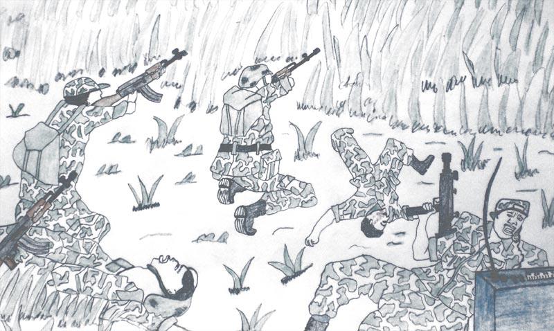 Dessin d'enfants soldats au combat