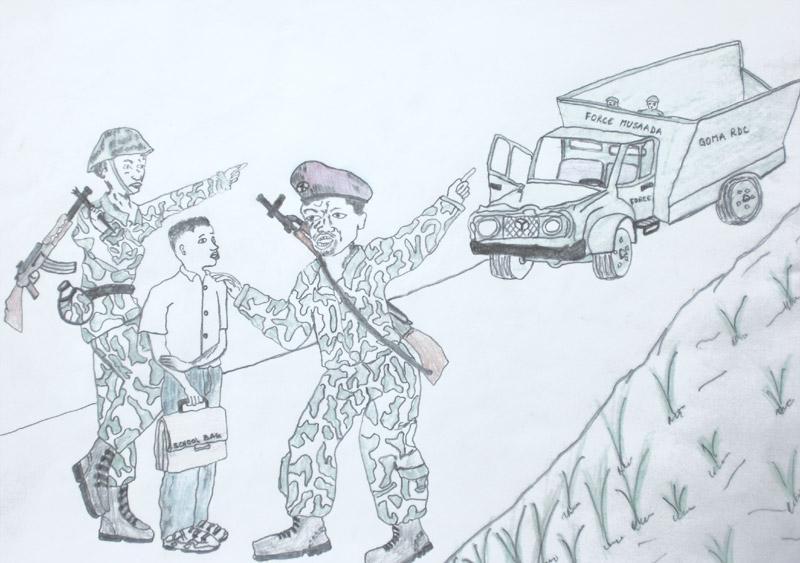 Dessin d'une enfant soldat enrôlé de force à Goma en RD du Congo