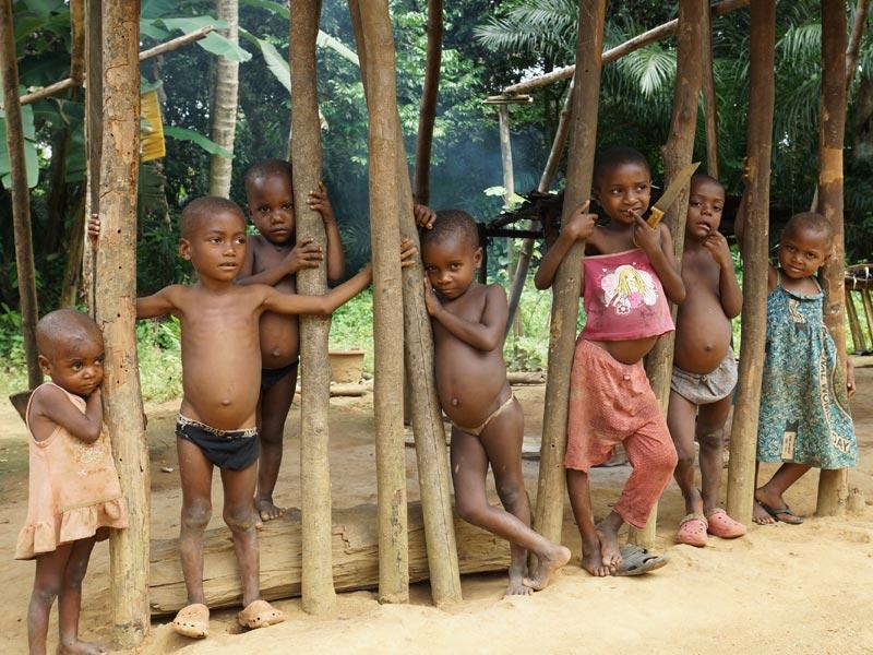 Enfants Pygmées Bagyeli dans leur campement de Bandevouri au Cameroun