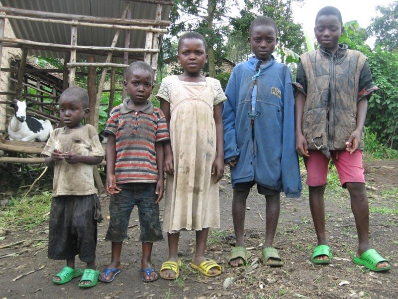 Fratrie d'orphelins de Basa pris en charge sur le plan scolaire et familial  par le Point d'Ecoute au Rwanda avec appui au petit élevage de chèvres.