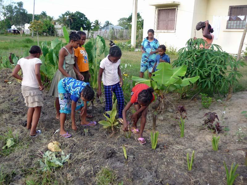 Apprentissage du jardinage pour les pensionnaires de l'orphelinat de Sambava à Madagascar.