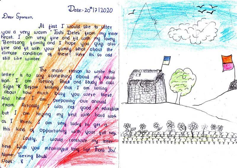 Lettre et dessin d'un élève du Haut Dolpo au Népal