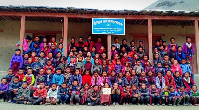 Les élèves de l'école de de Ting Kyu dans le Haut Dolpo au Népal