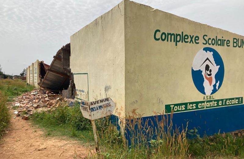 Destruction sauvage de l'école de l'ONG Bumi de Karavia à Lubumbashi en RDC