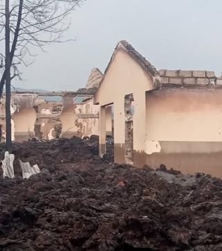 L'école Muja à Majengo détruite lors de l'éruption du volcan Nyiragongo à Goma
