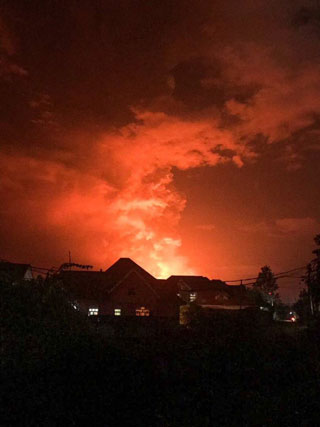 Eruption du volcan Nyiragongo à Goma