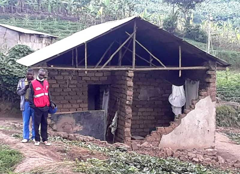 Maison écroulée à Gisenyi au Rwanda lors du tremblement de terre lié à l'éruption du volcan Nyiragongo à Goma