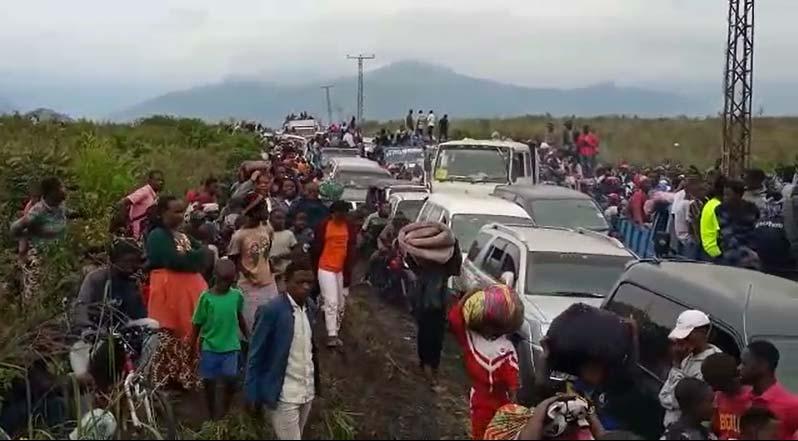 Eruption du volcan Nyiragongo à Goma, les réfugiés sur la route de l'exode