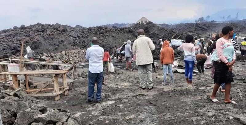 Ruines du centre des MUSO à Majengo  englouti par l'éruption du volcan Nyiragongo